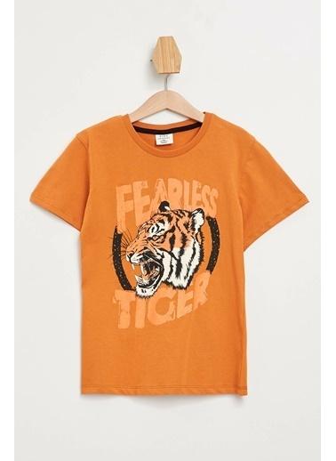 DeFacto Isıyla Renk Değiştiren Baskılı T-shirt Oranj